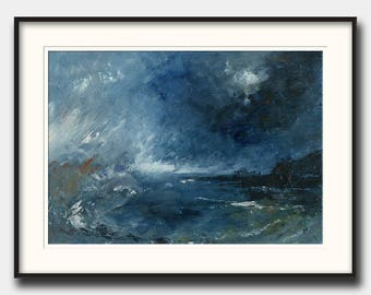 """Abstract landscape """"sea storm"""" - abstract seascape - modern art  - abstract print art wall - Ocean Print from an Oil painting by Juan Bosco"""