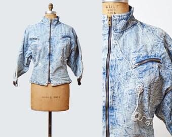 Vintage 80s Acid Wash GRUNGE JACKET / 1980s Faded Denim Biker Chick Zip Up Jean Jacket m