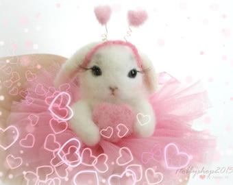 Needle felted animal Ballerina Needle felted Bunny Little  bunny  White Rabbit   bunny Dollhouse  Art Bunny doll  Bunny felt Gift Miniature