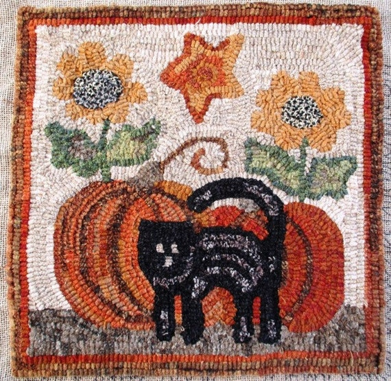 "Rug Hooking Pattern, Fall is Here, 14"" x 14"", J838, Primitive Halloween Pattern, Folk Art Cat, Pumpkins, Sunflowers, Star"