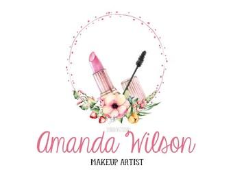 Makeup Premade Logo Make Up Logo Lipstick Mascara Watercolor Logo Makeup Artist Salon Custom Business Card Branding Wedding Signs PL404