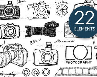 Camera Photography Doodle Clip Art, PNG, Small Commercial Use OK, Instant Download, Photo, Hand Drawn Digital, Logo, Designer Kit