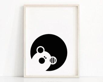Bear Nursery Print, Instant Download Art, Black And White Nursery Art, Kids Print, Animal Nursery Decor, Monochrome Baby Print, Kids Decor