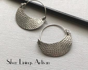 Crescent Moon Hoop Earrings, Sterling Silver, Textured, Tribal Earrings, Hand Fabricated, Everyday Earrings, Metalsmith Jewelry