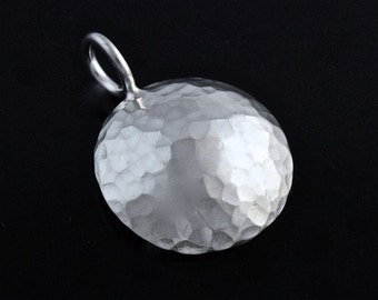 Sterling Silver Hammered 15mm Pendant