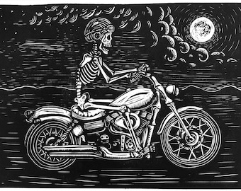 Skeleton riding a motorcycle linocut print