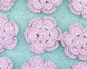 12 purple thread crochet applique flowers  roses --  1113