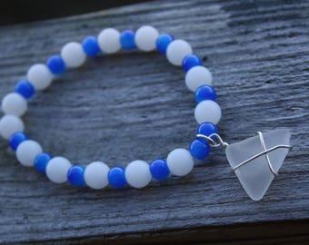 Beaded Stretch Bracelet with Sea Glass Charm
