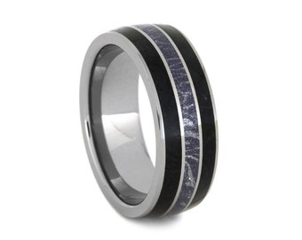 Unique Black Jade Wedding Band for Him, Tungsten Wedding Band with Blue Bronze and White Mokume Gane
