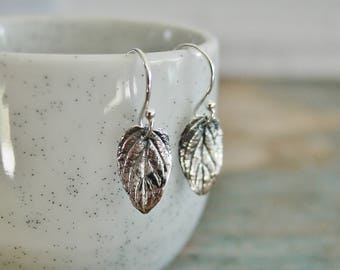 Sterling Silver Leaf Earrings, Tiny Dangle Earrings, Small Detailed Leaves, Gift for Her, Everyday Earrings, French Ear Wire,Nature Jewelry