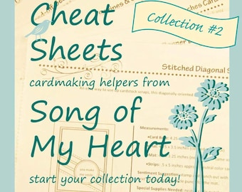 Cheat Sheets Collection #2: Instant Digital Download cardmaking tutorials, sketches, rubber stamping, complete instructions & measurements