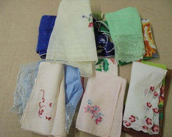 Lot of 10 Vintage Hankies Handkerchiefs Good Condition
