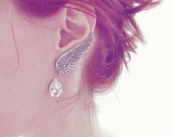 Angel Wing Earrings ear climber Earrings Clip On Earring ear wing Silver Bridal Swarovski drop Silver hypoallergenic nickel free earrings
