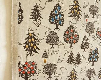 Japanese Cotton Linen Canvas Fabrics - Nordic Scandinavian Forest Birds