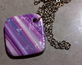 Square shape variation of purple necklace