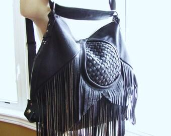 Brown leather fringe bag, hobo purse, backpack & messenger bag, convertible bohemian bag