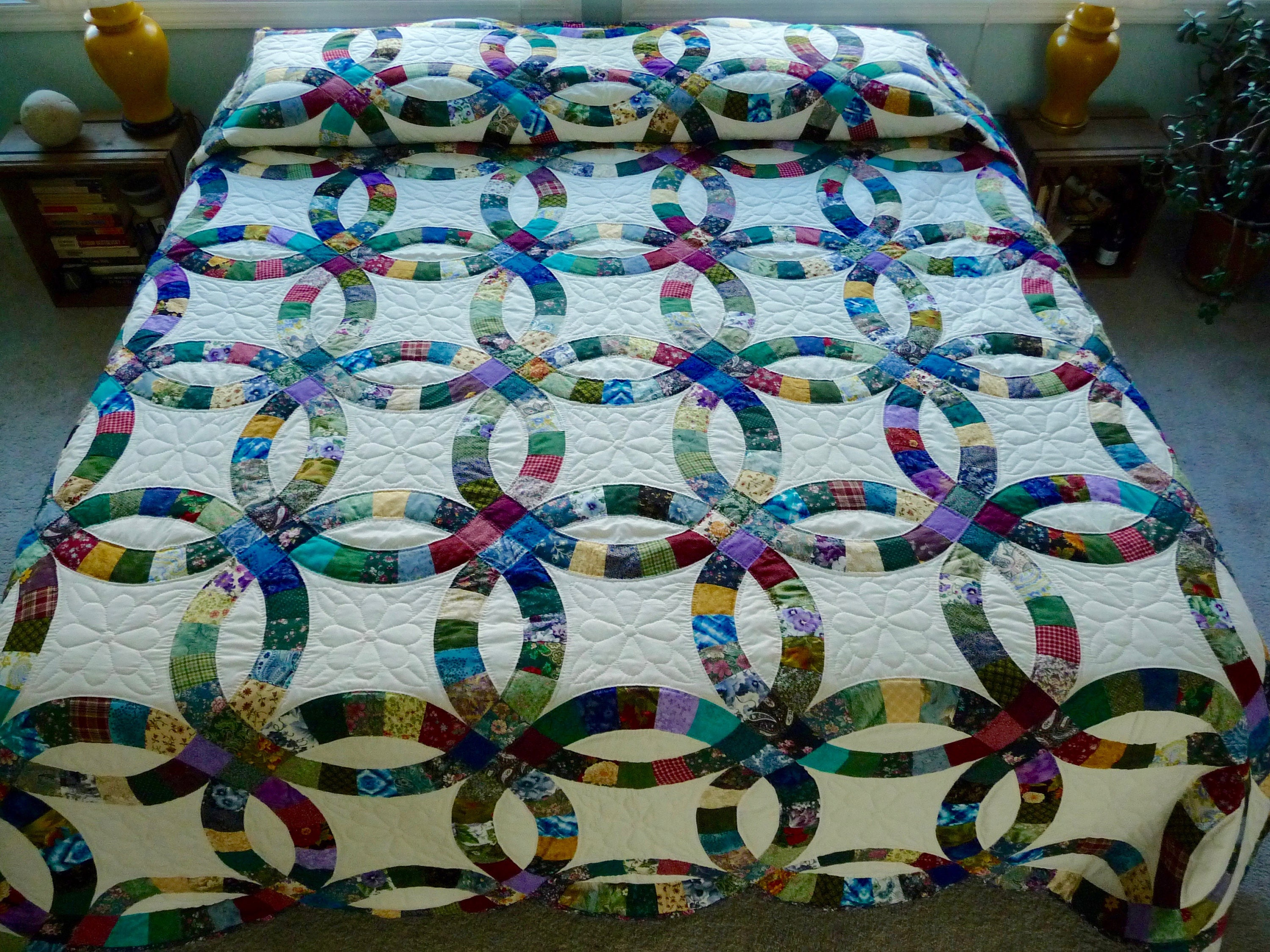 Double Wedding Ring Amish Quilt Calico