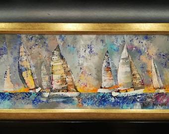 "ORIGINAL Oil Painting ""Regatta"" // Modern Framed Nautical Relief Oil On Canvas, Impressive Blue Seascape Wall Art, Colorist Sailboat Scenery"