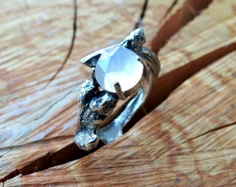 Faceted Cabochon Moonstone Ring Branch or Twig Ring In Sterling Silver Lost Wax Cast Rose Cut White Moonstone Statement Ring Budding Branch
