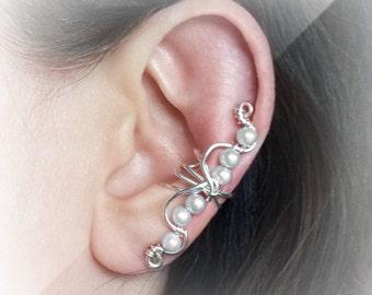 Silver Ear Cuff Wavey Silver Plated White Pearls Ear Wrap