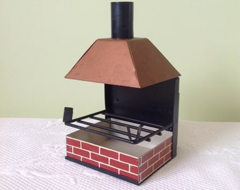 Vintage ahstray metal fireplace shaped - barware - curiosity - metal home shaped ashtray - cigarette case / / made in the Japan