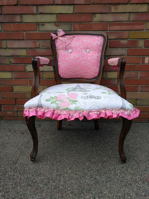 Lace and Rose Gold French Script Accent Chair