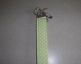 Lime Green with White Polk-A-Dots Key Fob, Key Chain, Key Lanyard