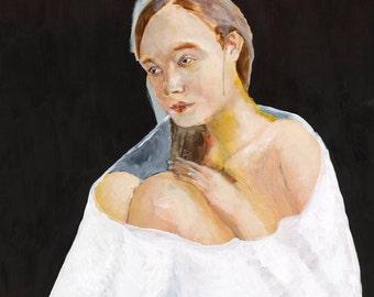 Large Wall Art - Blanket, Giclee Art Print, Figurative Art, Modern Art