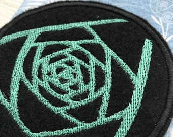 midnight rose art patch   abeadles   iron on flower patch   patch game   patch collector   black rose   cool patches