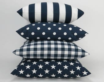 Blue / White Pillow Cover, Euro Sham, Cushion Cover, Navy Blue and White Decor, Throw Pillow -MANY SIZES- Mix and Match by Premier Prints