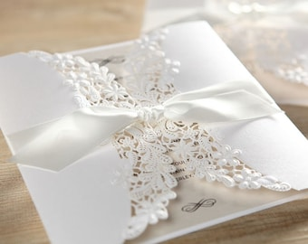 Timeless Ivory Floral Laser Cut Wrap Wedding Invitation, Silk Ribbon - BH1646