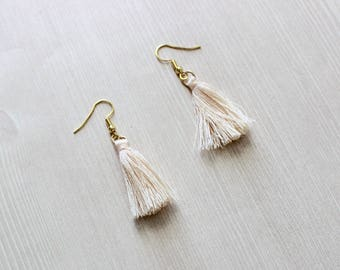 Pale Cream Tassel Earrings