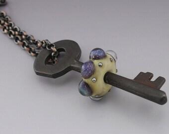Skeleton Key Jewelry Rustic Steampunk Copper Jewelry Artisan Lampwork Bead Jewelry Handmade Glass Key Pendant Heather Behrendt SRA 3509