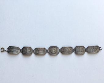 Vintage 1934 Chicago Worlds Fair silver souvenir bracelet