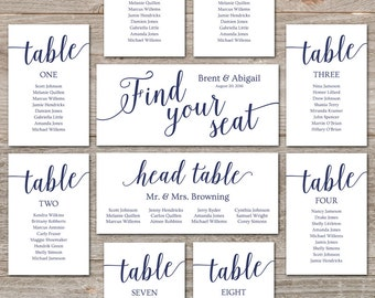 Navy Seating Chart Template // Wedding Seating Chart Cards, Editable Seating Chart Printable // Navy Wedding Decor