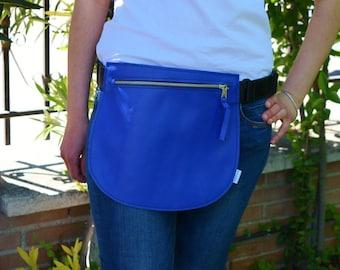 Leather waist bag,Belt bag,hip leather bag,fanny pack leather,cobalt blue bag,hip belt bag,rider bag,leather fanny,zipper waist,blue purse