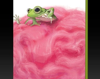 Frog In Cotton Candy Greeting Card