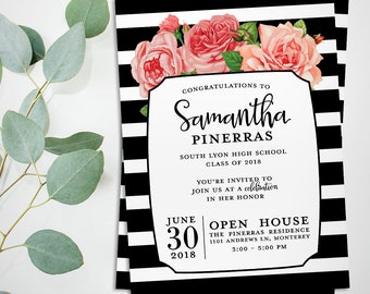 Stripes graduation party invitation, roses and  thick stripes printable graduation open house or graduation party invite card, class of 2018