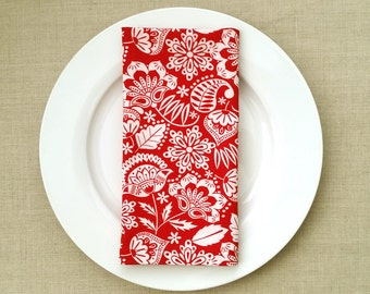 Flower Motif Fabric Napkins - Fabric Dinner Napkins - Red and White Dinner Napkins - Set of 2