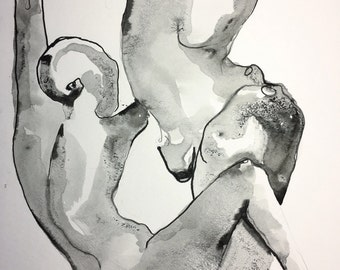 Jump in together --- original ink painting on paper