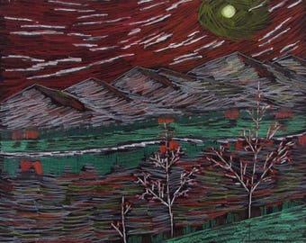 Trees at Night - Print
