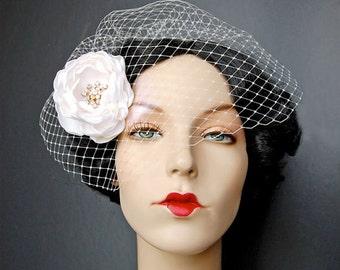 Wedding Hair Flower, Bridal Hair Piece,  White Hair Fascinator, Wedding Accessories - Shimmering Sabine In Gold Two Piece Set