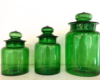 Vintage Green Jars