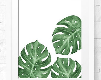 monstera art print, Monstera Leaf Print, Digital Download, Modern minimalist art print, Monstera poster, palm leaf Modern Minimal Botanical