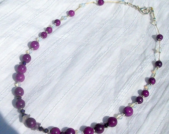 Sugilite (gemstone) silver plated necklace.