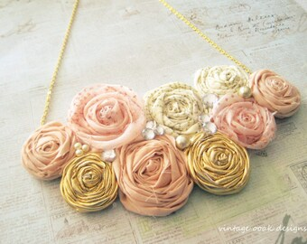 Blush & Gold Statement Necklace, RosetteStatement Necklace,Rosette Necklace, Rosette Jewelry,Rosette Bib Necklace,Rosette Bridesmaid Jewelry