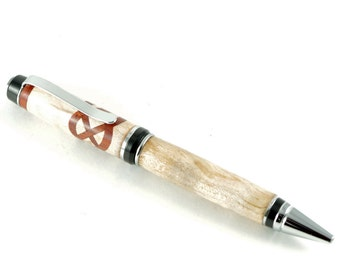 Handcrafted Wood Pen -  Ballpoint Pen Cigar in Maple Wood with Cherry Celtic Knot, Handcrafted Wooden Pen, Pen Gift, Pen, Handturned Pen