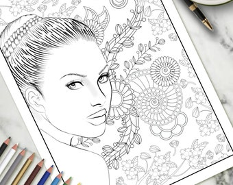 Printable Colouring Page Beautiful Face