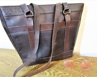 Vintage Boho Leather Tote - Dark Brown - Tooled Leather Details - Zipper Top - Lined - Shoulder Bag  - 1970's Hippie Handbag Purse