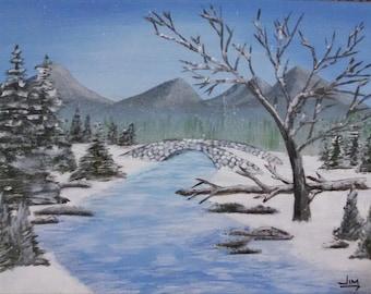 New England winter stone arch bridge mountain stream landscape